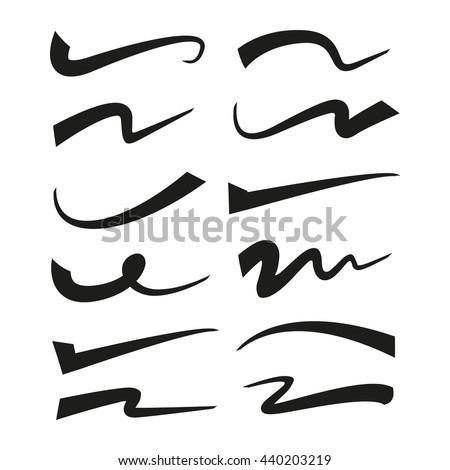 underline, highlighter marker strokes, swoops, waves  brush marks - stock vector