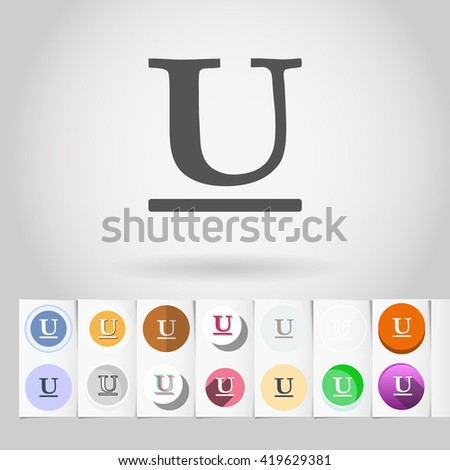 Underlined text round icon set from big collection of sets of formatting text tools and interface elements - stock vector