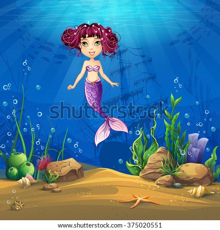 Undersea with brunette mermaid. Marine Life Landscape - the ocean and the underwater world with different inhabitants. For design websites and mobile phones, printing. - stock vector