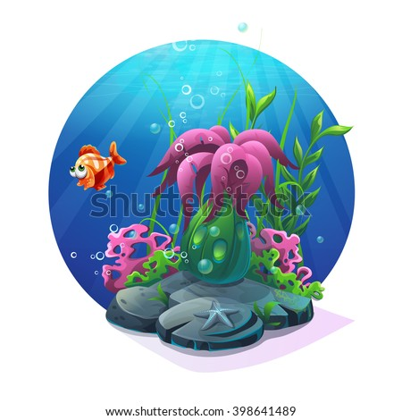 Undersea world. Marine life on the sandy bottom of the ocean. For design websites and mobile phones, printing. Vector illustration  - stock vector