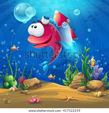 Undersea world with funny fish. Marine Life Landscape - the ocean and the underwater world with different inhabitants. For design websites and mobile phones, printing. - stock vector