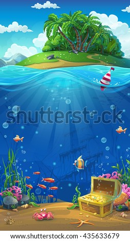 Undersea world with island mobile format. Marine life landscape - the ocean and the underwater world with different inhabitants. For design websites and mobile phones, printing. - stock vector