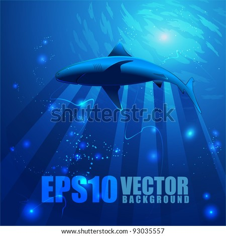 Underwater abstract background with sun rays and water surface a shark swimming - stock vector