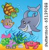 Underwater animals and fishes 1 - vector illustration. - stock vector