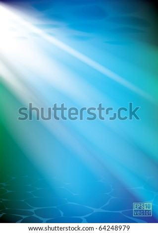 Underwater background, sunshine through the water, eps10 vector - stock vector