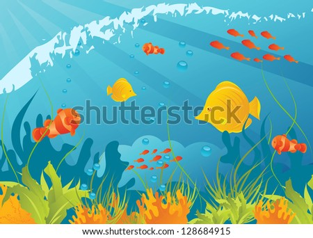 Underwater background with different fishes, algae and corals - stock vector