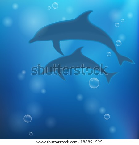 Underwater background with dolphins. Vector illustration.