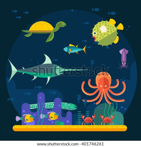 Underwater background with various water plant and swimming tropical fish. Underwater background with fish. Underwater background coral garden with glossy water surface colorful fish playing vector - stock vector