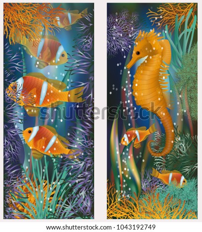 Underwater banner with horsefish and clownfish, vector illustration