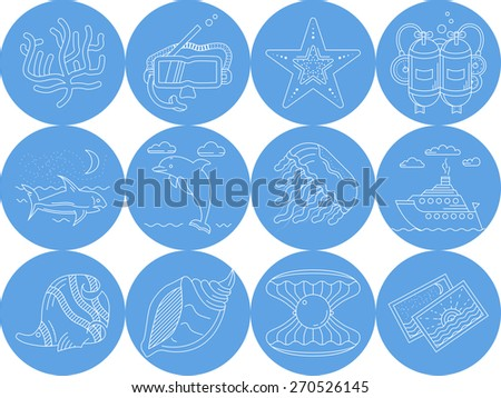 Underwater blue round vector icons. Set of round blue vector icons with white line elements of sea leisure and underwater creatures on white background. - stock vector