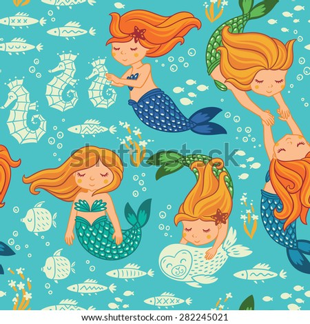 Underwater cartoon world. Vector seamless pattern for childrens wallpapers - stock vector