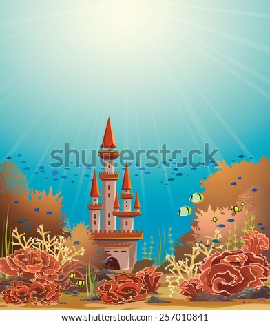 Underwater castle and colorful coral reef with tropical fishes. Vector seascape illustration. - stock vector