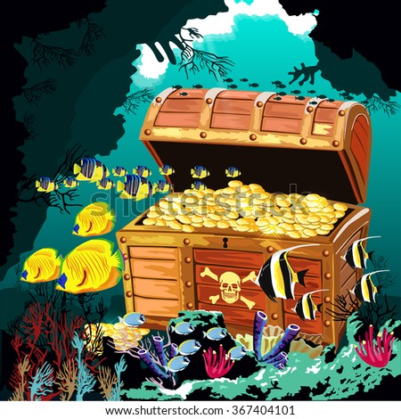 Underwater cave with an open pirate treasure chest - stock vector