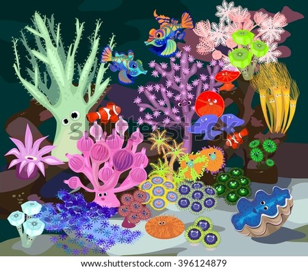 Underwater coral reef with fish - stock vector