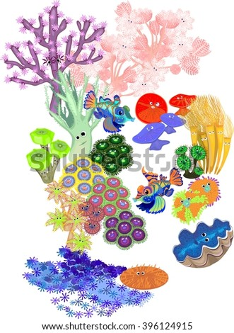 Underwater coral reef with fish on white background  - stock vector