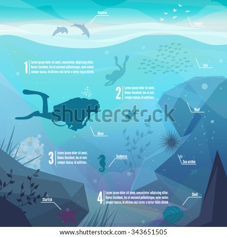 Underwater diving infographics. Landscape of marine life - Island in the ocean and underwater world with different animals. Low polygon style flat illustrations. For web and mobile phone,print. - stock vector