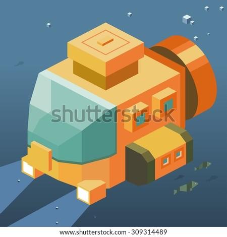 Underwater exploration. isometric art - stock vector