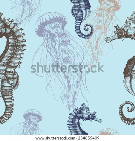 Underwater hand drawn illustration. Vector seamless pattern with seahorses and jellyfishes. - stock vector