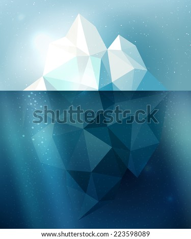 Underwater iceberg arctic snow vector illustration in blue and white colors - stock vector