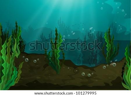 Underwater in freshwater habitat - stock vector