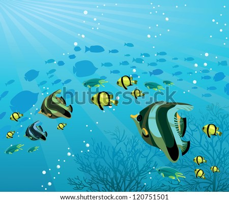 Underwater life - Group of colored fish on a blue sea background - stock vector