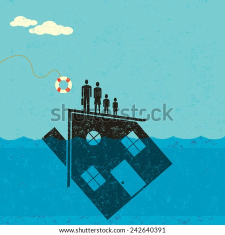 Underwater mortgage help a family floating on their house which is