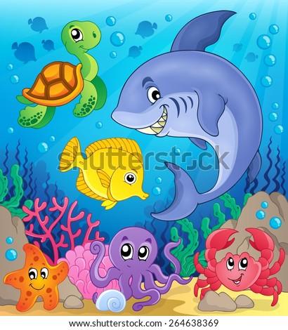 Underwater ocean fauna theme 6 - eps10 vector illustration. - stock vector