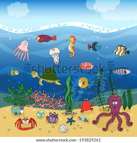 Underwater ocean life hand-drawn illustration under the waves with corals and algae or seaweed on golden sand and swimming fish  a turtle  seahorse  octopus  jellyfish  lobster   shells and a crab - stock vector