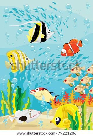 Underwater Scene - stock vector