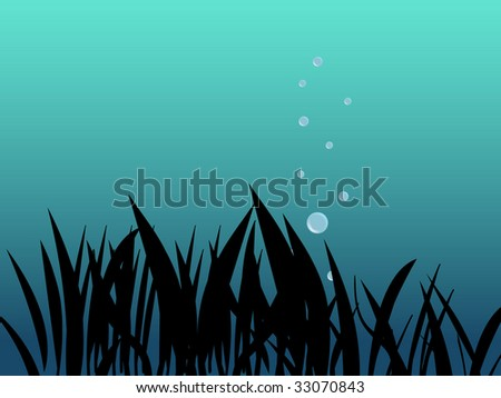 underwater scene with grass and bubbles - stock vector