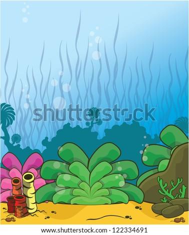 underwater scenery - stock vector