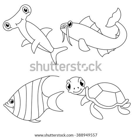 Underwater Sea Animals Coloring Page Fishturtle Stock