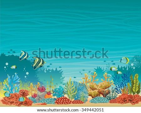 Underwater seascape - colorful coral reef with fish on a blue background. Natural tropical vector illustration. - stock vector