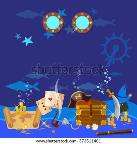 Underwater treasure pirate chest with gold vector illustration