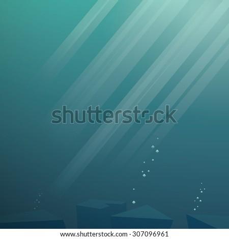 Underwater vector background. Sea scene with sunbeams through water. Sunlight in ocean. Eps10 vector background. - stock vector