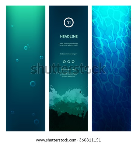 Underwater View Blue Background with Waves, Bubbles, Sunlight and Ripples. Vector Vertical Banners for Web Sites. Ocean or Sea Under Water.  - stock vector