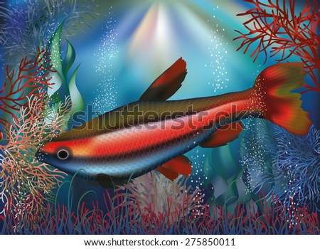 Underwater wallpaper tropical fish, vector illustration - stock vector