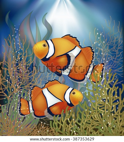 Underwater wallpaper with clownfish, vector illustration - stock vector
