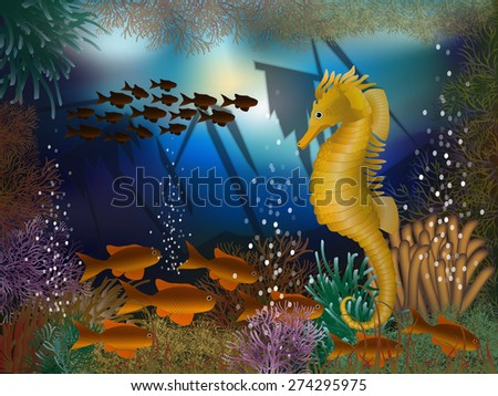 Underwater wallpaper with seahorse and shipwrecks, vector illustration - stock vector