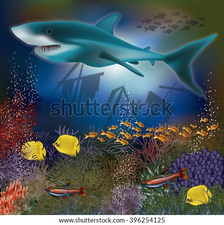Underwater wallpaper with shark and old ship, vector illustration