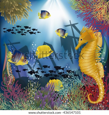 Underwater wallpaper with tropical fish, vector illustration - stock vector