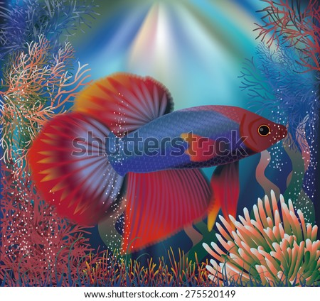 Underwater wallpaper with tropical well fish, vector illustration - stock vector