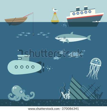 underwater world, colorful vector background - stock vector