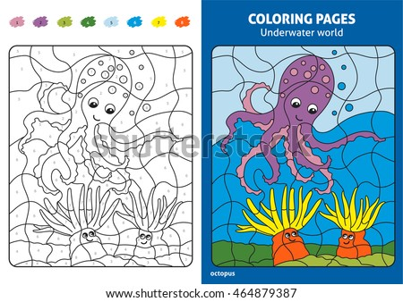 Underwater World Coloring Page For Kids Octopus Printable Design Book Puzzle