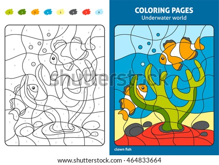 Underwater World Coloring Page For Kids Reef Fish Printable Design Book View Preview