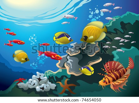 Underwater world, coral reefs beneath the sea, many bright colored fishes, vector illustration - stock vector