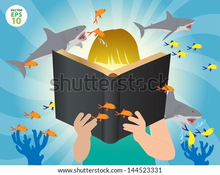Underwater world imagination concept children reading story book, Vector illustration template design  - stock vector