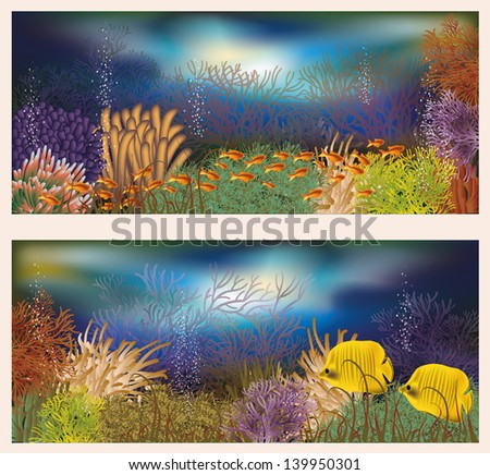 Underwater world two banners, vector illustration - stock vector