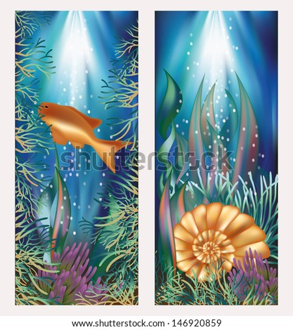 Underwater world two banners with golden fish and seashell, vector illustration - stock vector