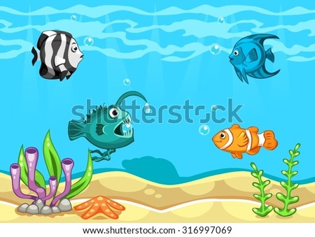 Underwater world vector illustration with algae, starfish, seashell and fishes - stock vector
